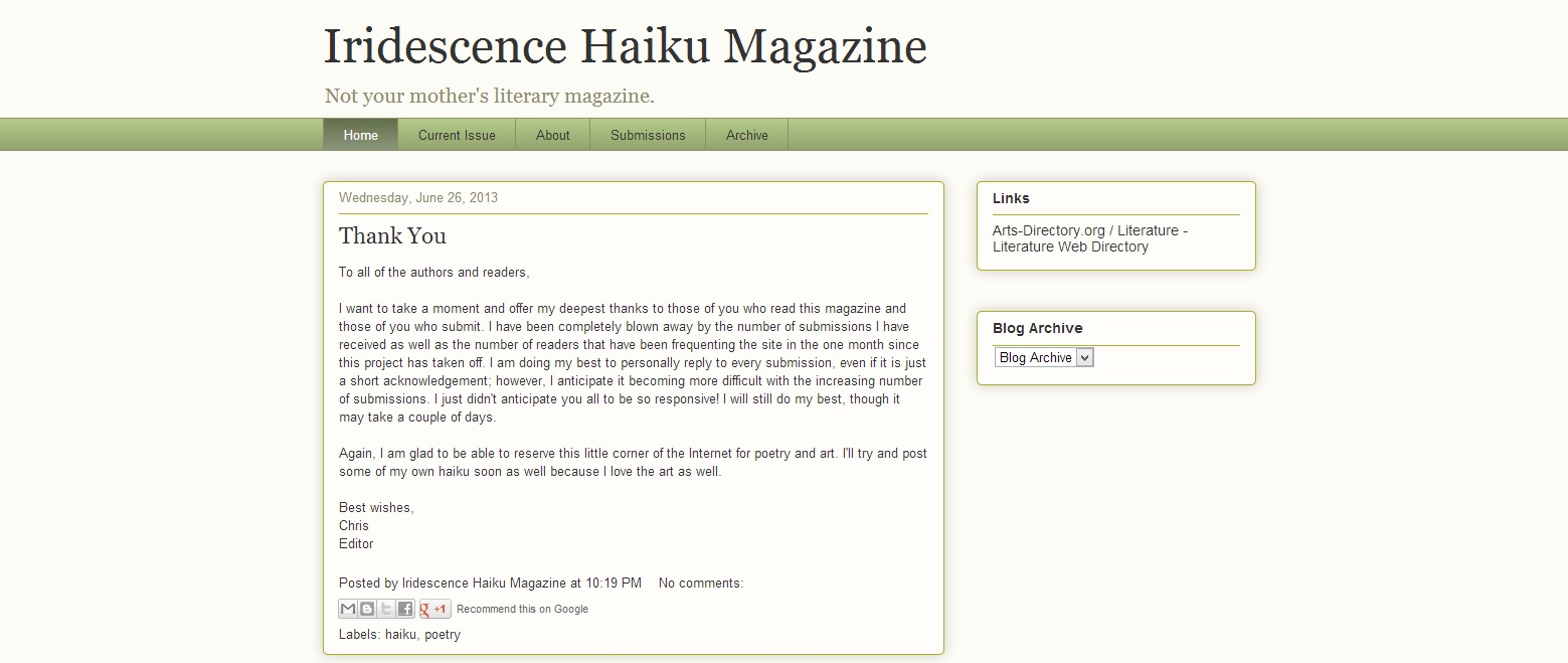 Iridescence Haiku Magazine