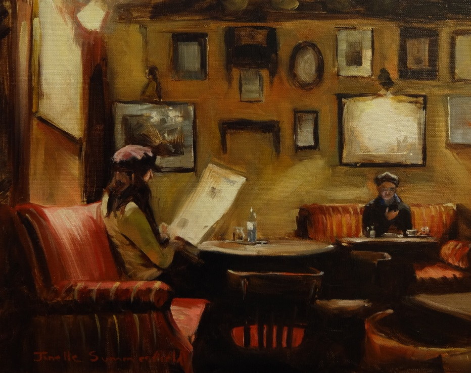 Reading at a Cafe Hawelka by Jonelle Summerfield