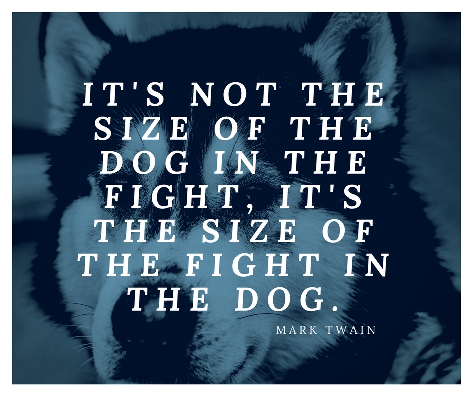 It's not the size of the dog in the fight, it's the size of the fight in the dog. -Mark Twain