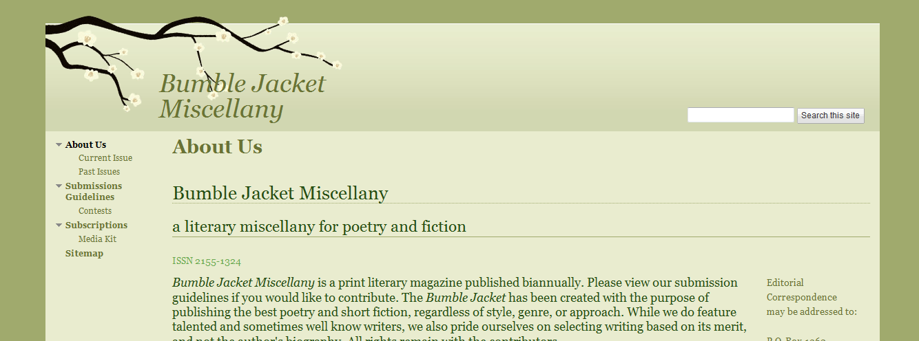 Bumble Jacket Miscellany: a miscellany for poetry and fiction