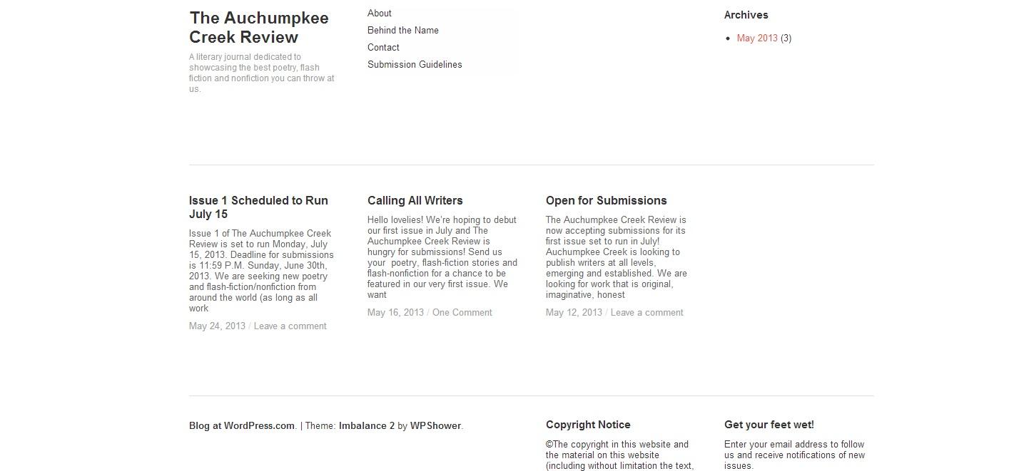 The Auchumpkee Creek Review