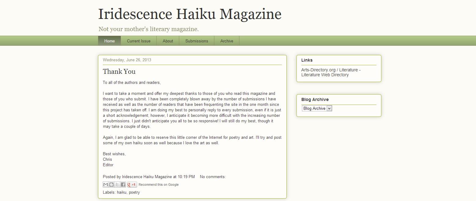Iridescence Haiku Magazine