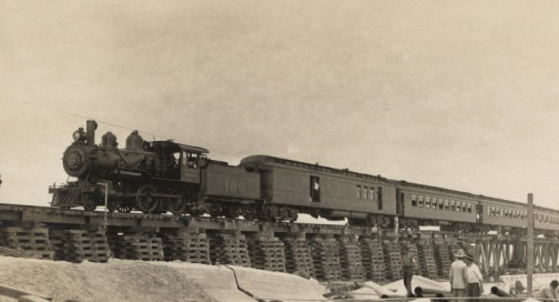 Writing prompt train over a bridge